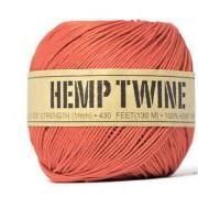Hemp fiber cord . Natural 100% . 20 yards . tangerine orange . string . gift wrap ties . supplies . gift tag . burnt orange