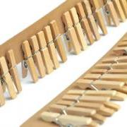 Mini clothespins . natural pegs . 25 plain scrapbooking clips . 1 inch . crafts . home decor . tag . beige . miniature . small