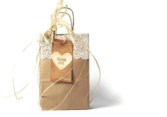 20 Plain Kraft Paper Ping Bags Twist Handles Wedding Party Favors Gift Wrap Bag Brown Lace Vintage